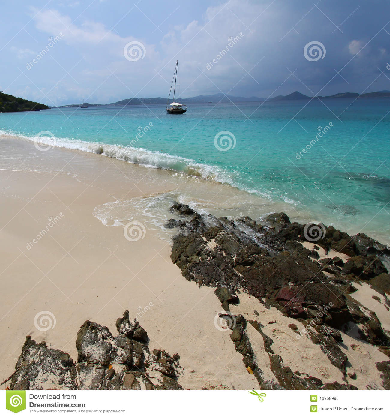 Cumulus Clouds Over Caribbean Turquoise Sea Stock Image