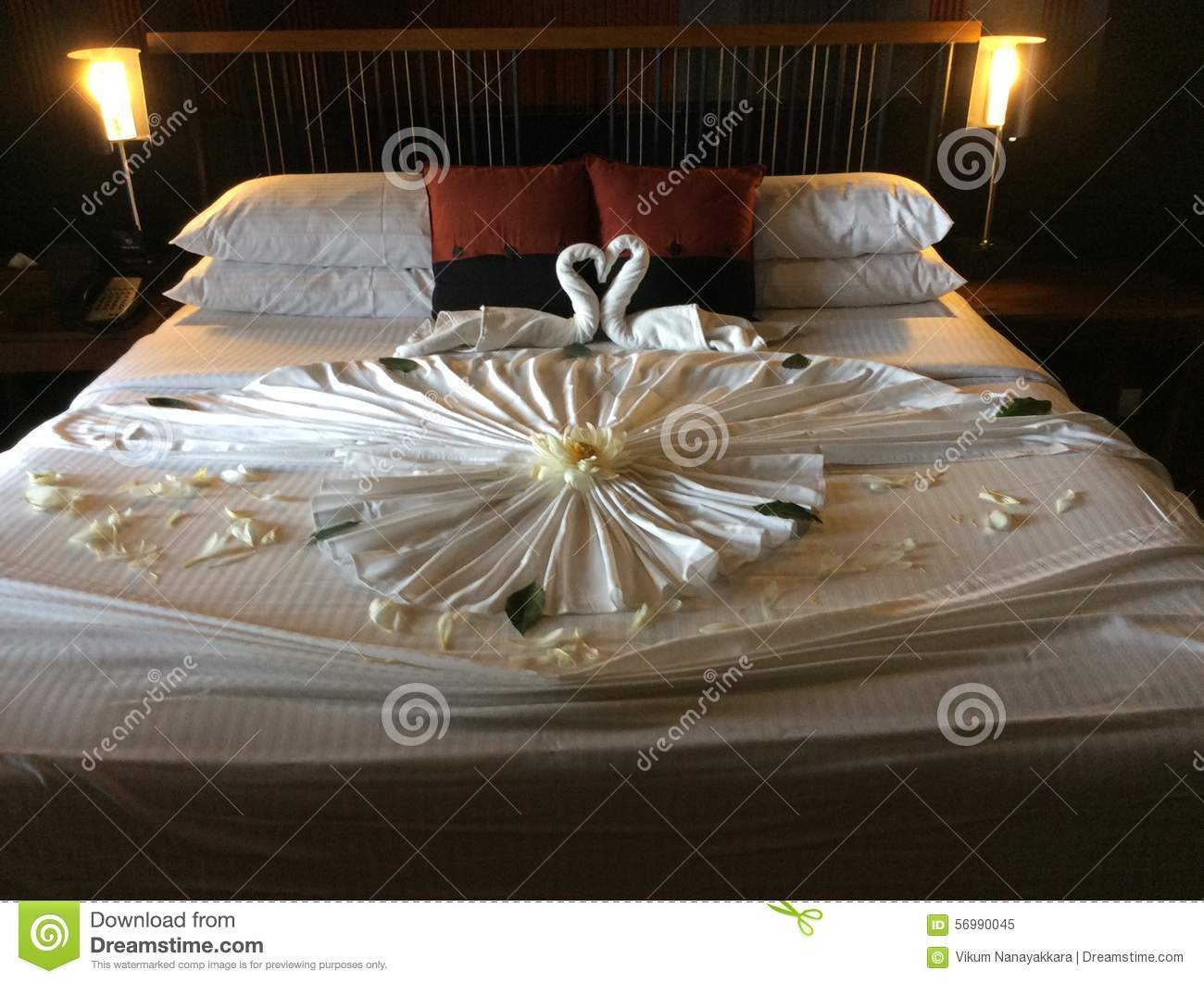 Honeymoon stock image image of pillows furniture for Bed decoration for honeymoon