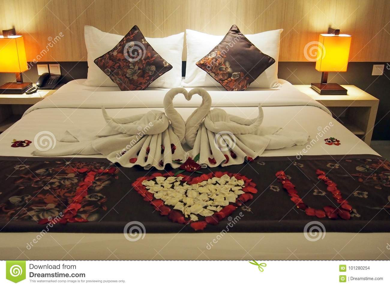 Bed decoration stock photo image of romantic love for Bed love decoration