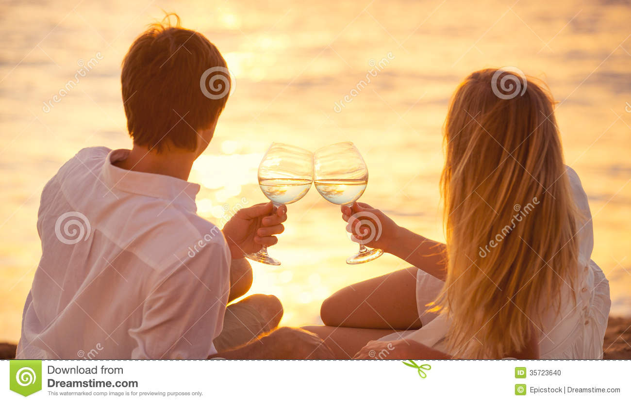 Honeymoon concept, Man And Woman In Love Stock Photo ...