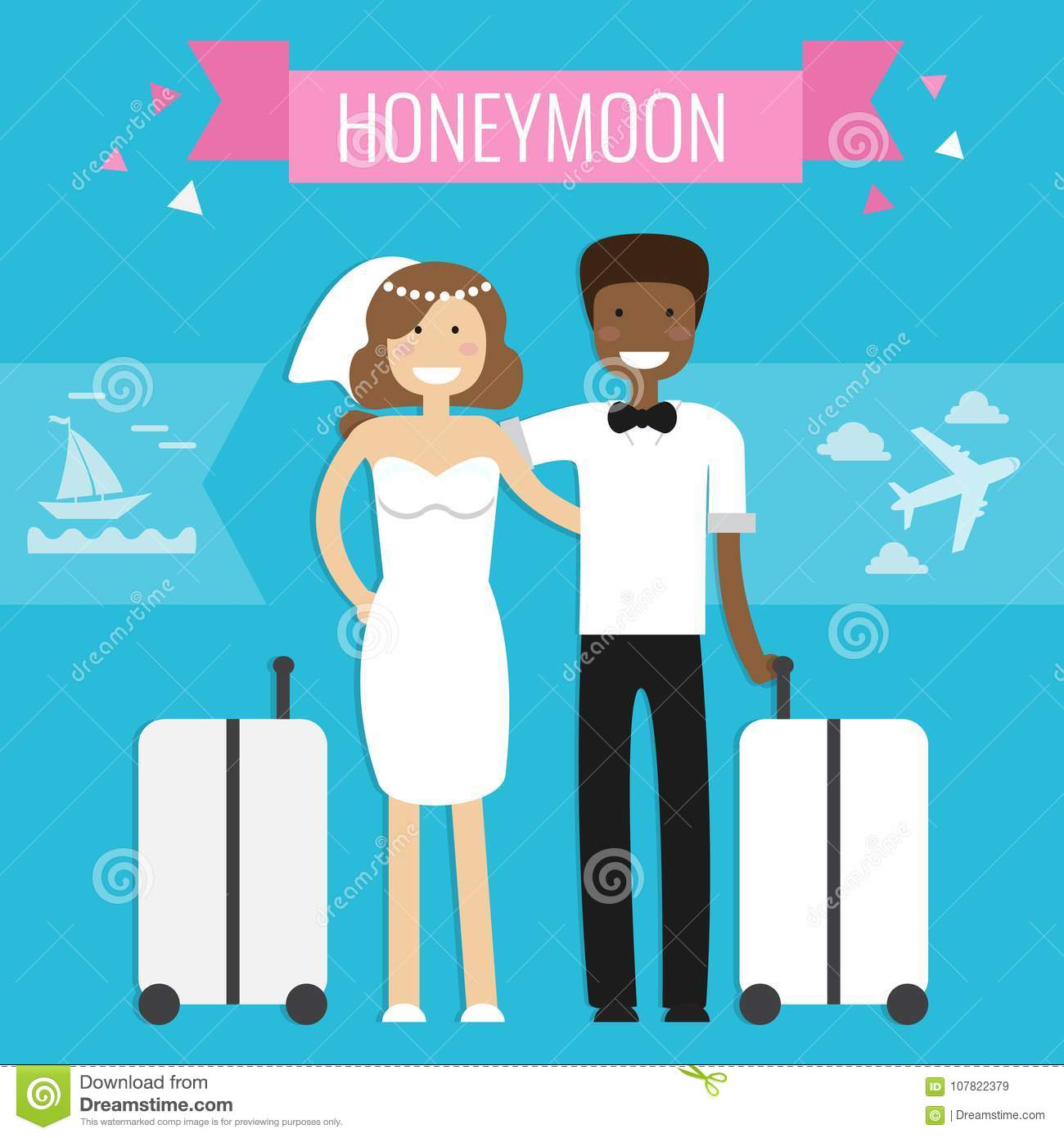 Download Honeymoon Concept Wedding Couple Stock Vector