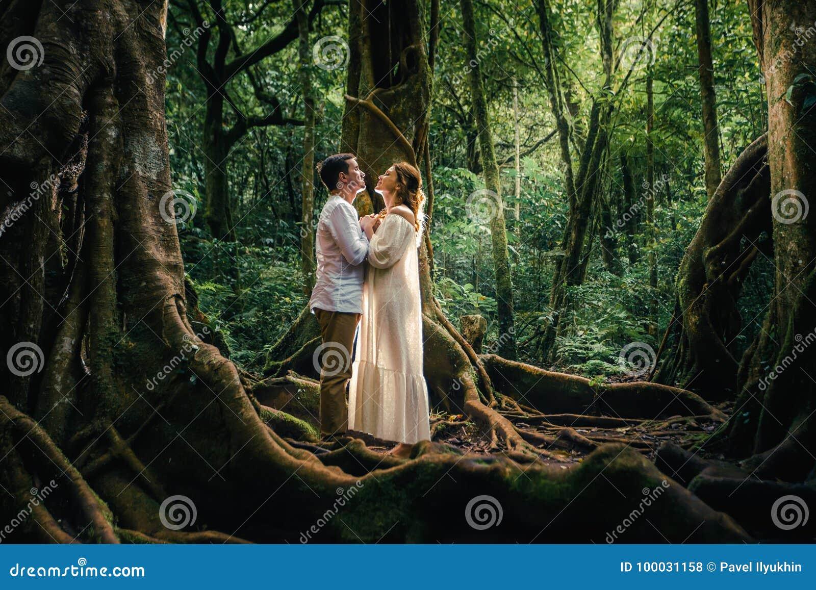 Honeymoon Couple At Balinese Botanical Garden Ubud Bali Stock