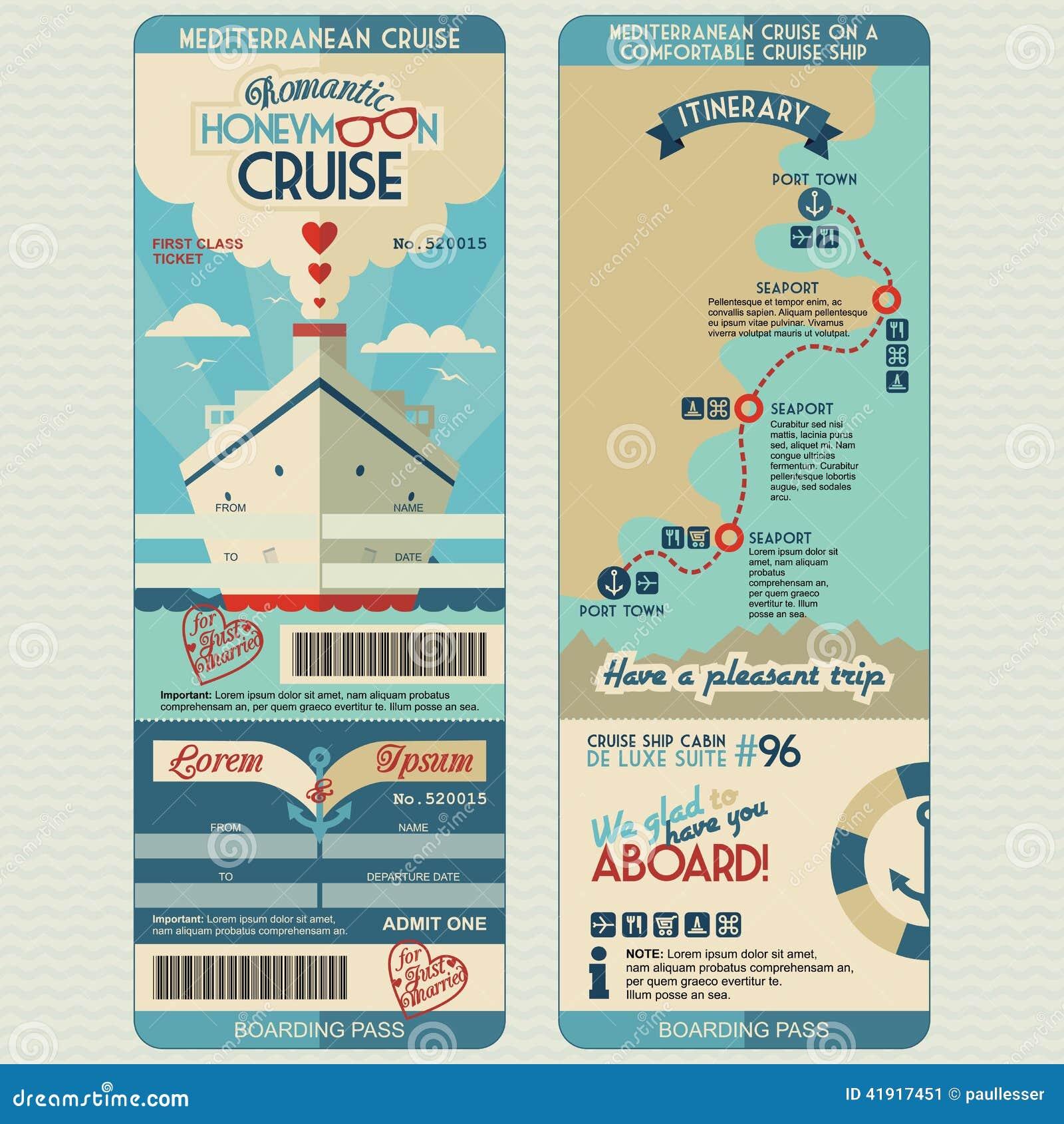 Honeymoon Cruise Boarding Pass Stock Vector Illustration