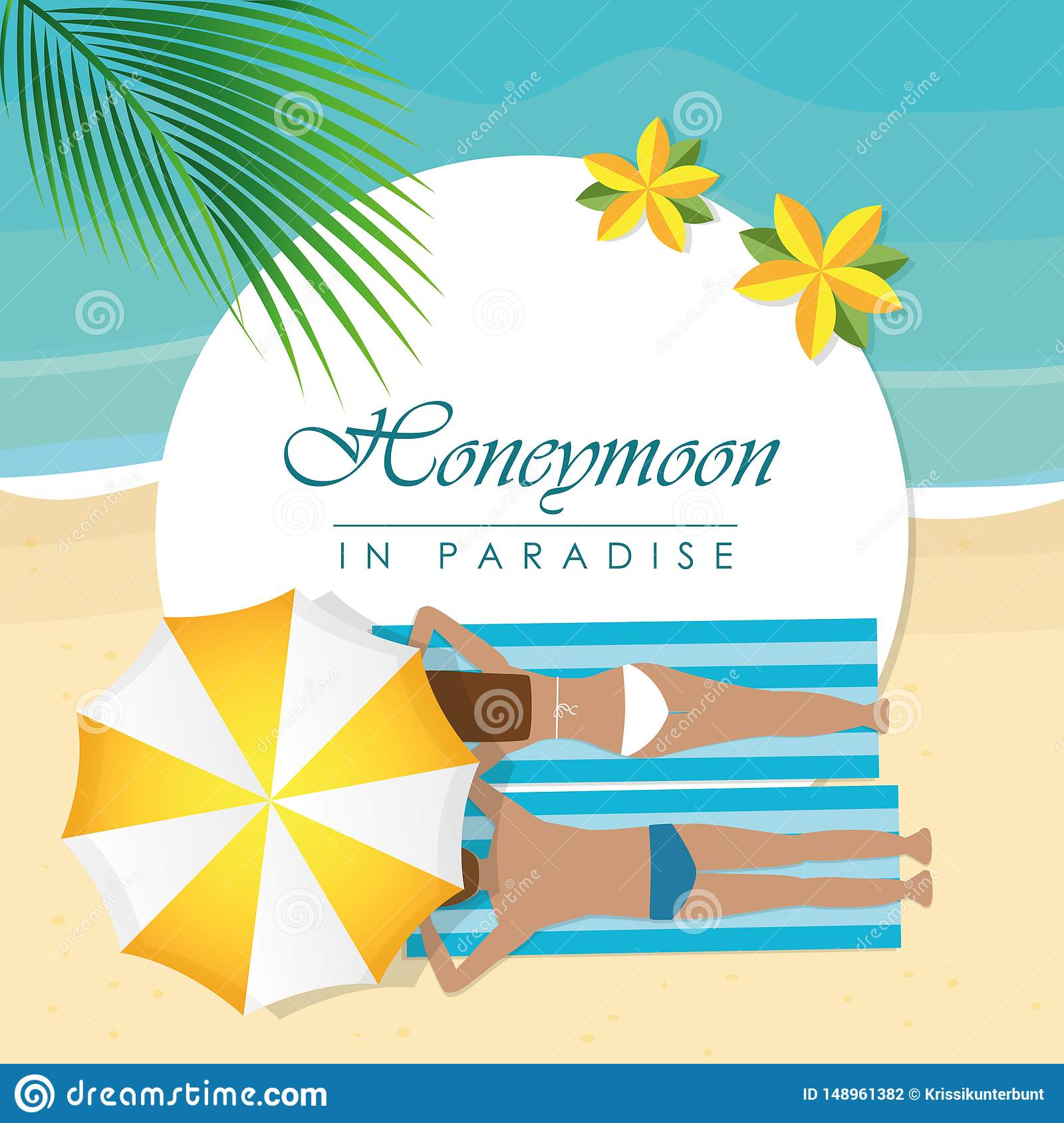 Honeymoon in paradise design couple on the beach with palm leaf