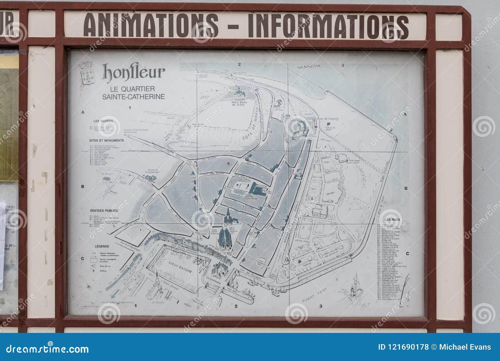 Honfleur Normandië mag 4de 2013: Een kaart van de oude stad van Honfleur in Normandië