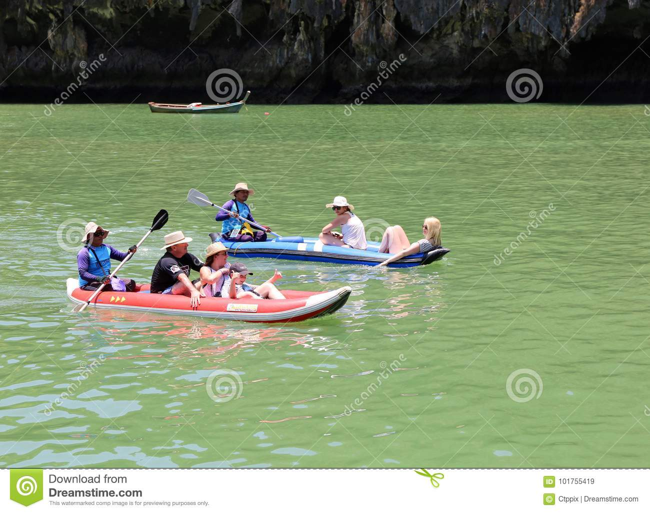 Tourists enjoying canoeing at Hong island