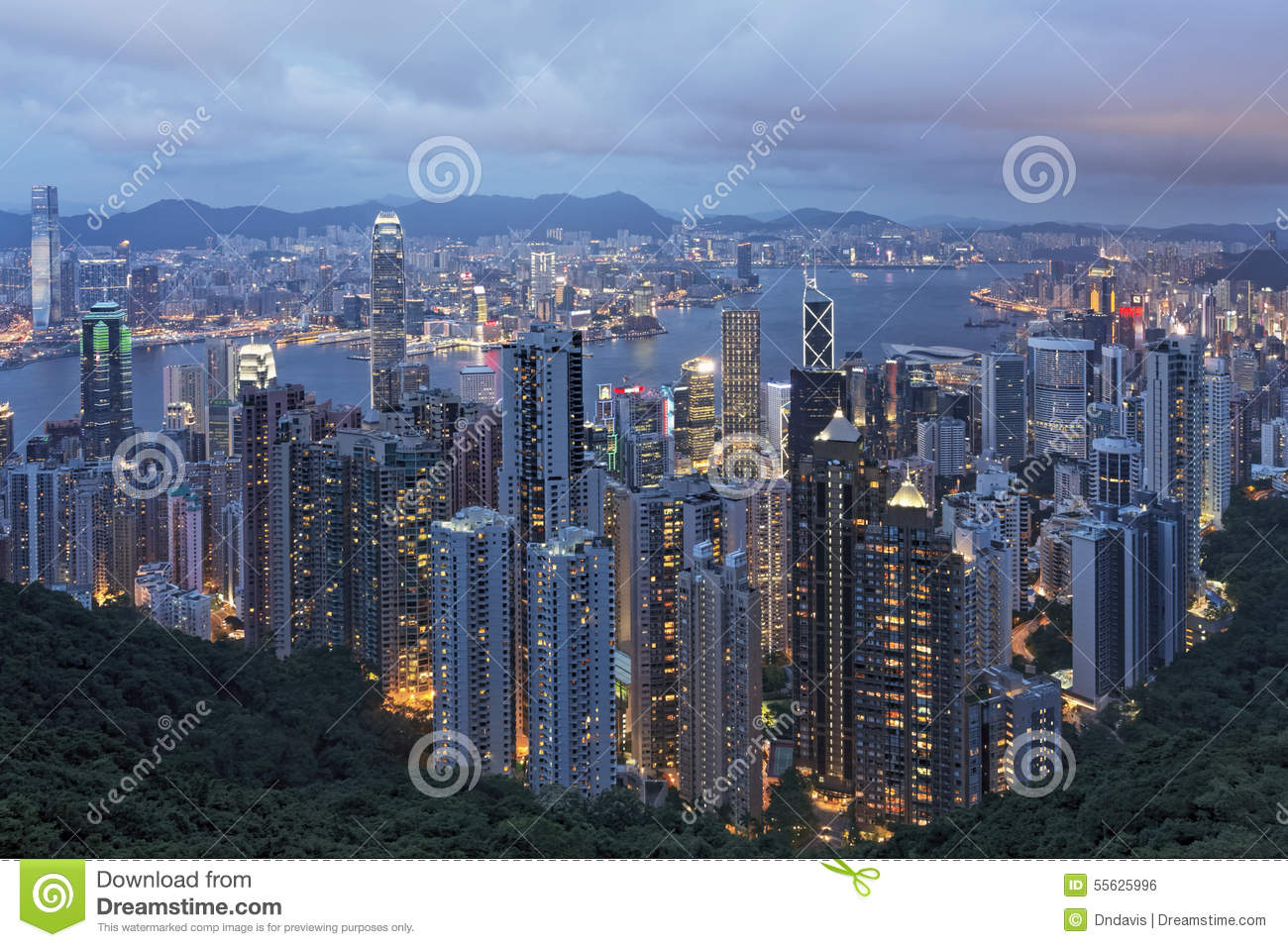 Hong Kong Island and Victoria Harbor as viewed from The Peak