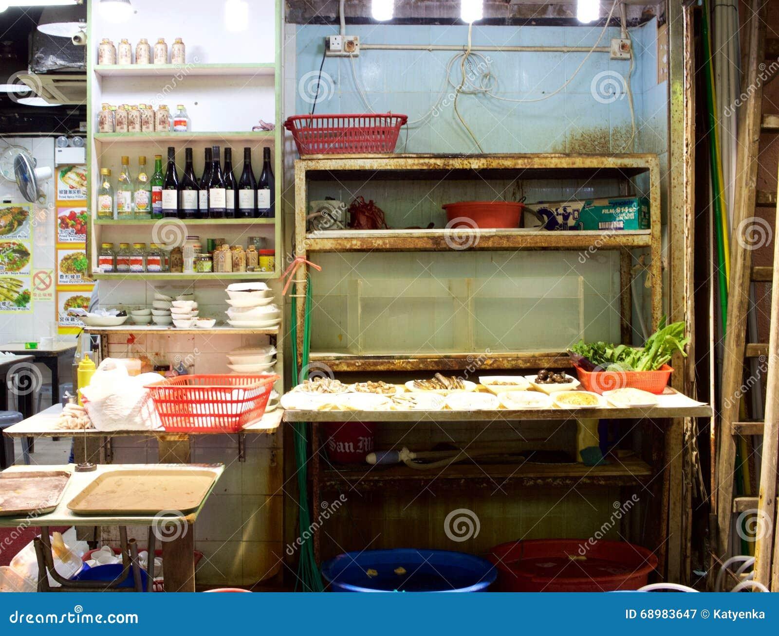 Hong Kong: Área de servicio del restaurante en mercado de la noche de la calle del templo
