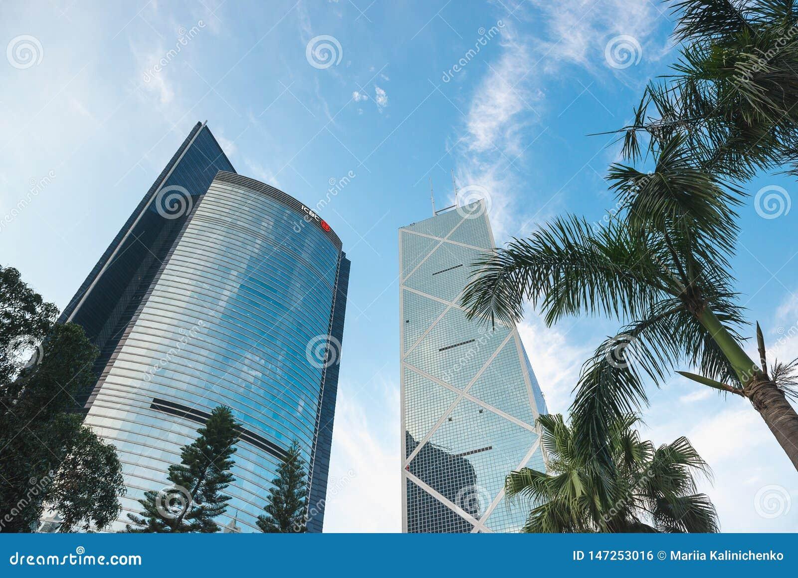HONG KONG CHINY, Kwiecie?, - 19, 2018 Bank Chin wierza i ICBC budynek, dolny widok