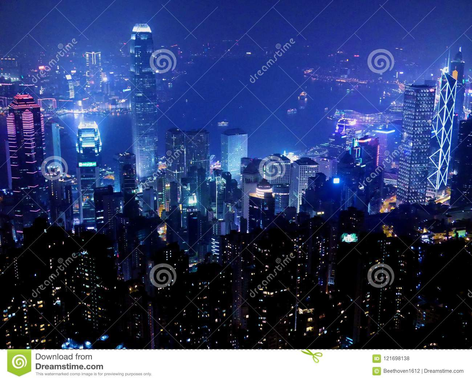 Hong Kong Cityscape en la noche
