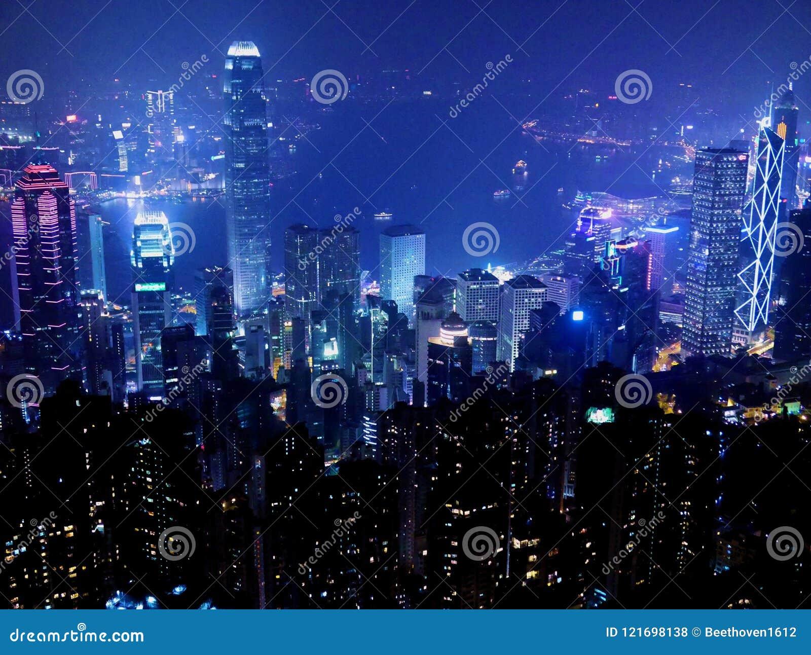 Hong Kong Cityscape na noite