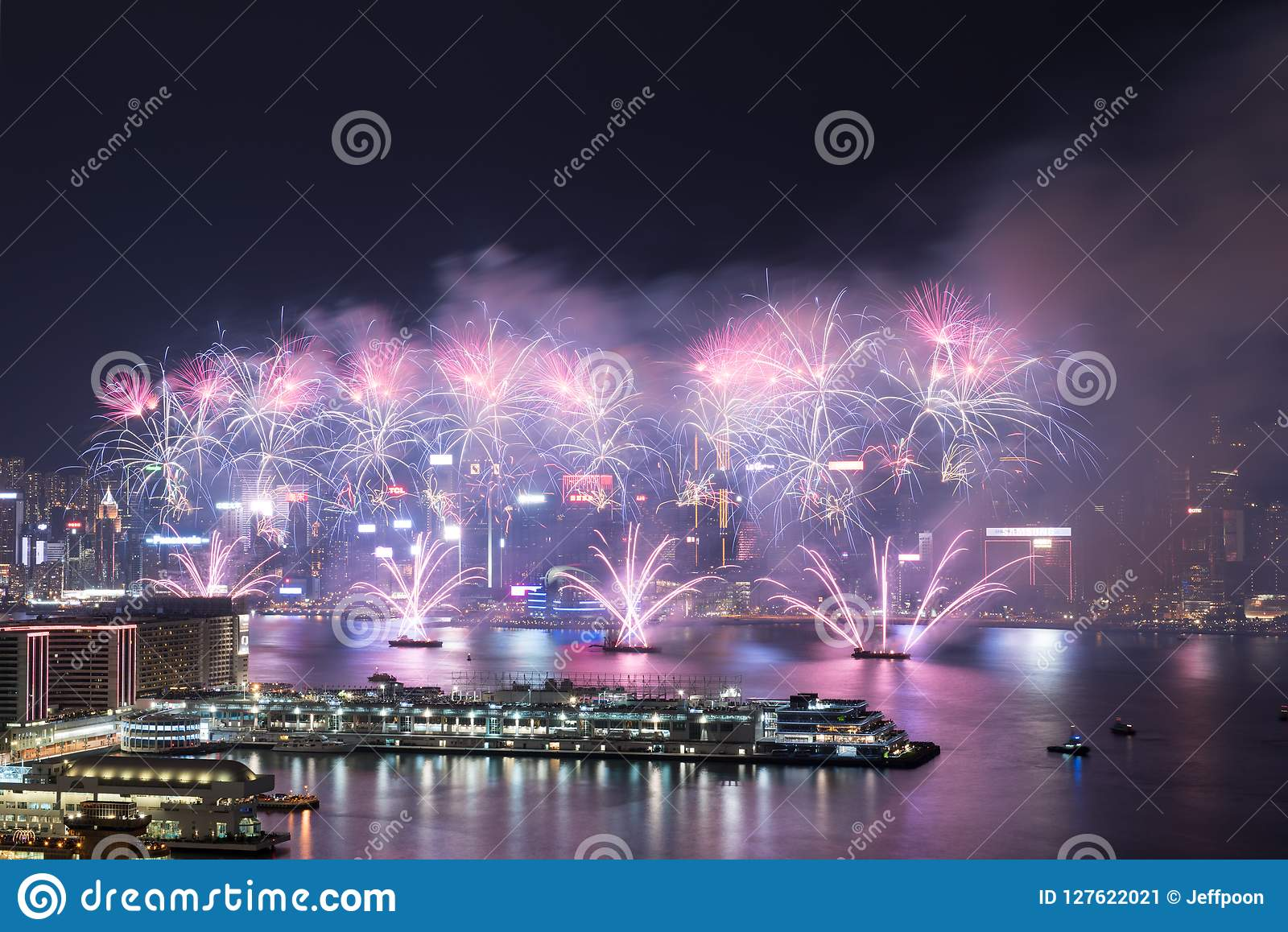 Hong Kong Colorful Firework in Victoria Harbour