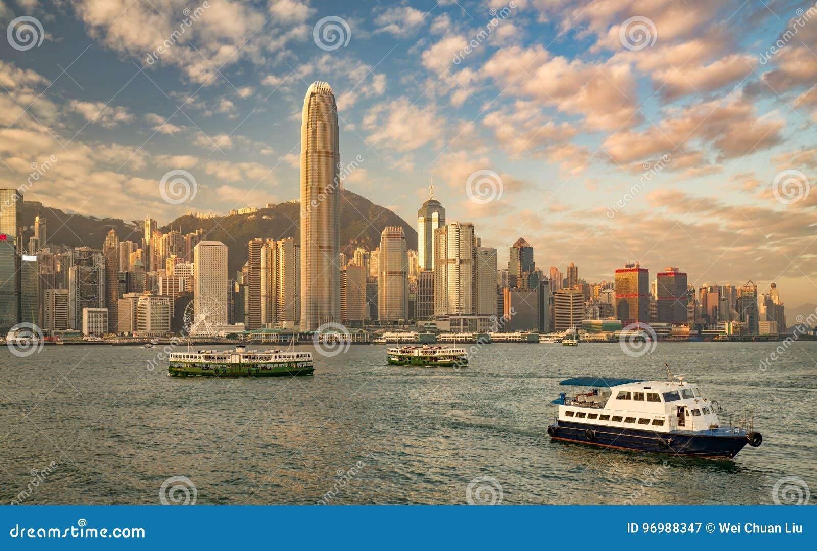 Hong Kong harbor at sunrise