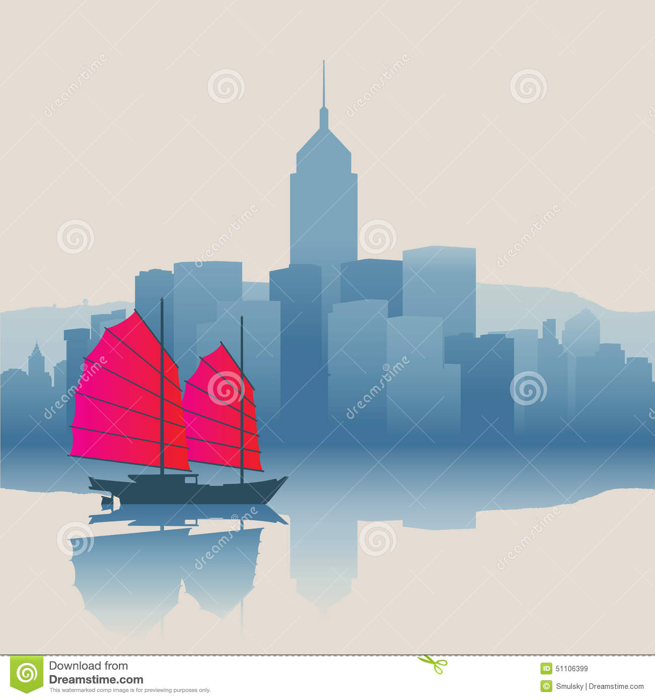 Hong Kong Harbour With Tourist Junk Stock Vector - Image: 51106399