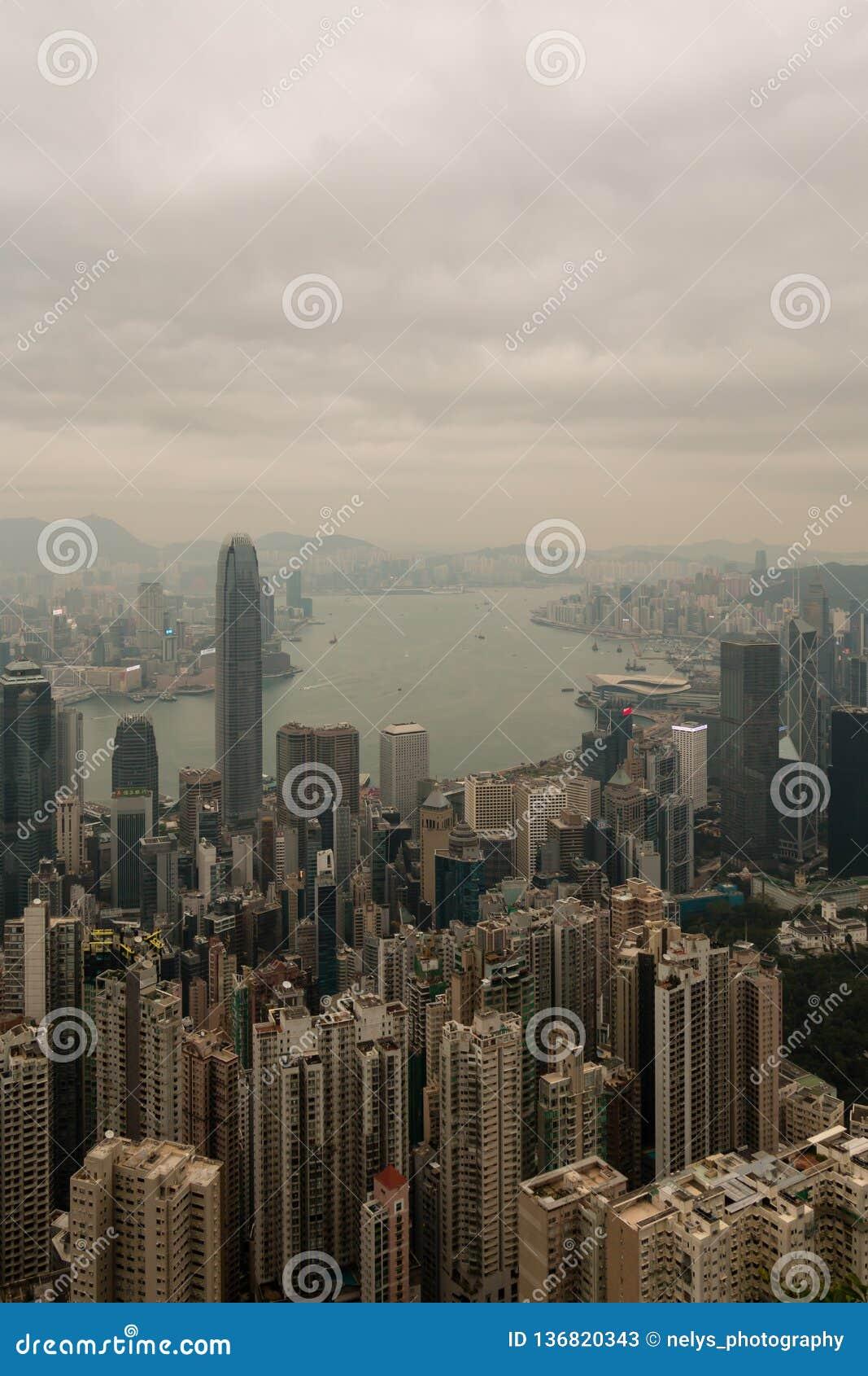 Hong Kong horisont, sikt från Victoria Peak