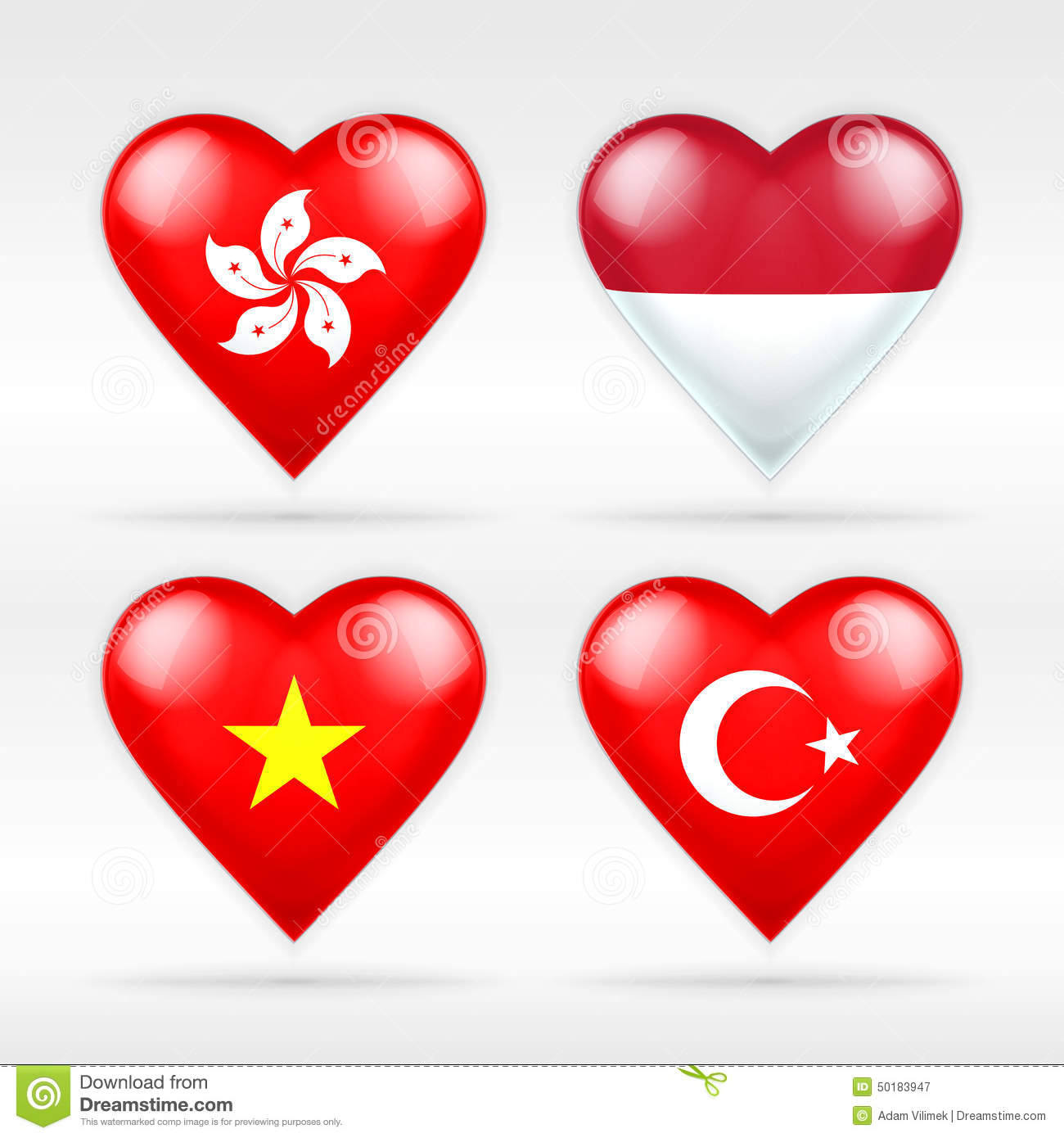 Hong Kong, Indonesia, Vietnam and Turkey heart flag set of Asian states