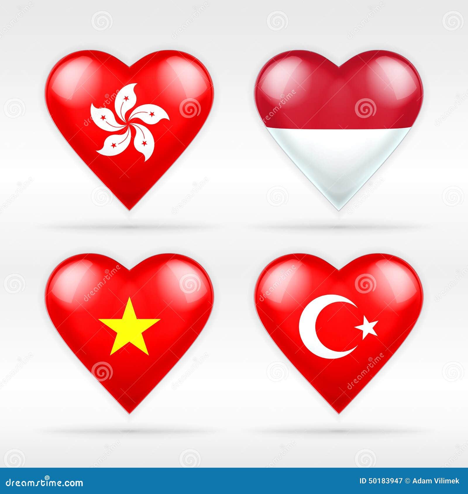 Hong Kong-, Indonesien-, Vietnam- und Türkei-Herzflaggensatz asiatische Staaten