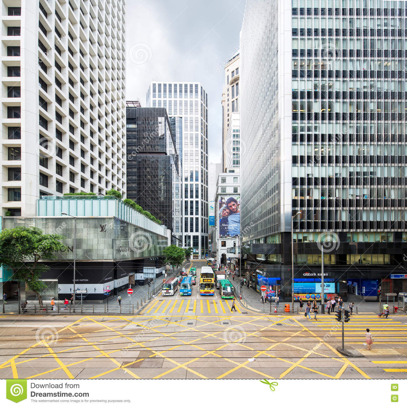 Hong Kong Shopping: Hong Kong Intersection. Editorial Stock Photo. Image Of