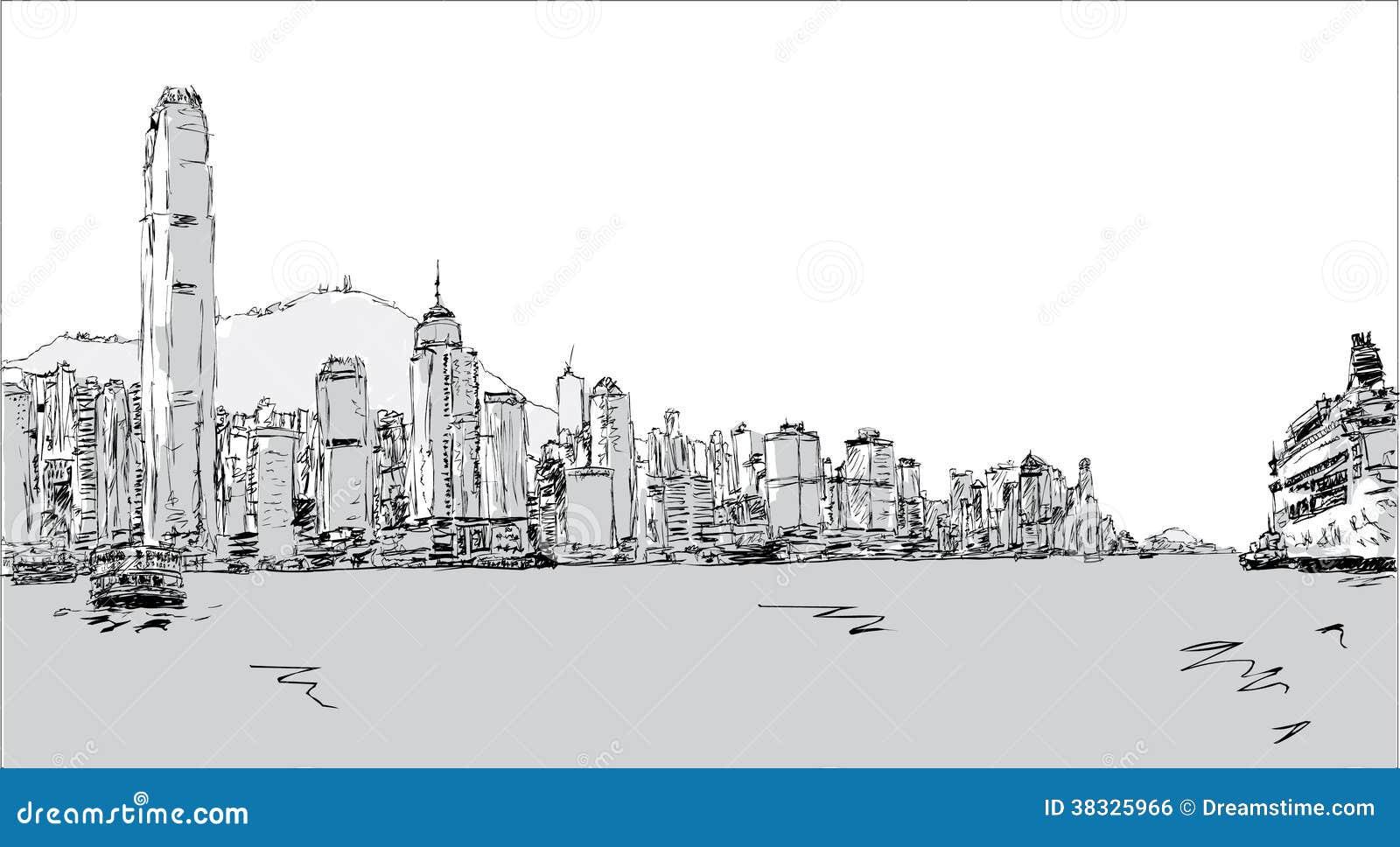 Hong Kong Island stock vector. Image of drawn, skyscrapers