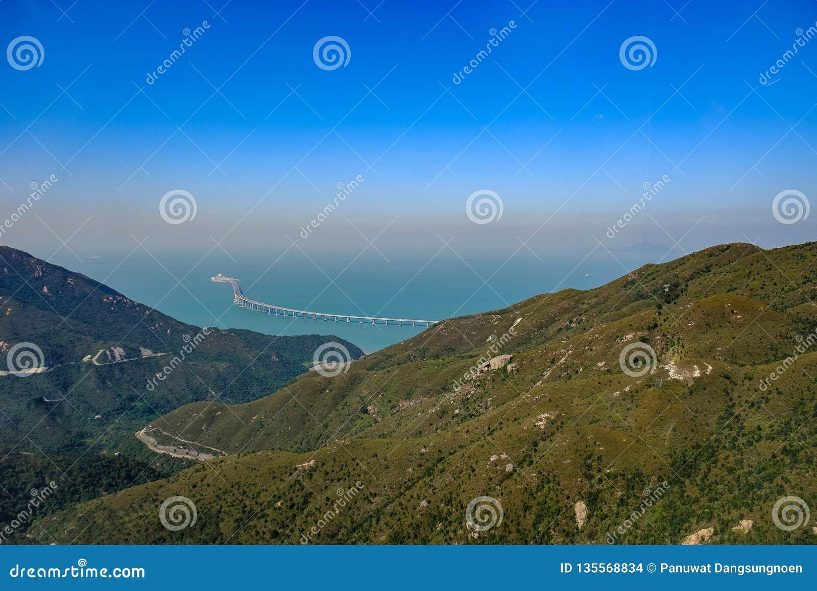 Hong Kong krajobraz, widok z lotu ptaka