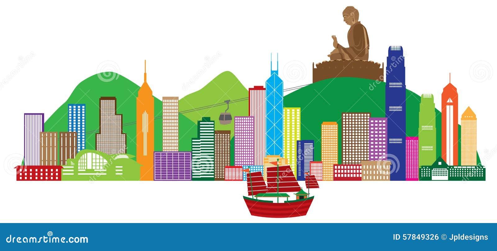 Hong Kong linia horyzontu i Buddha statua koloru wektoru ilustracja