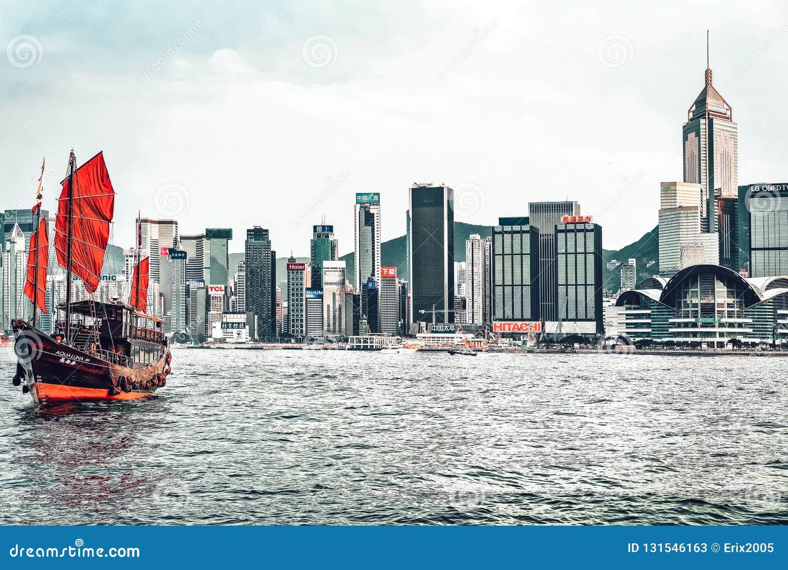 Hong Kong, Hong Kong - March 6, 2016: Victoria Harbor in Hong Kong stock photos