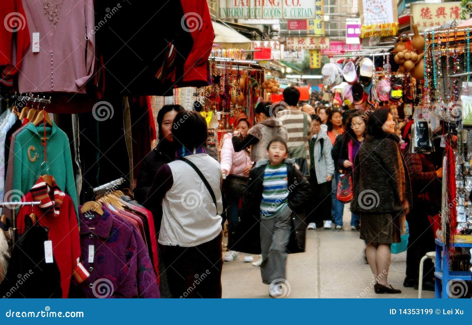 Hong-Kong: Mercado de las señoras apretadas en Kowloon