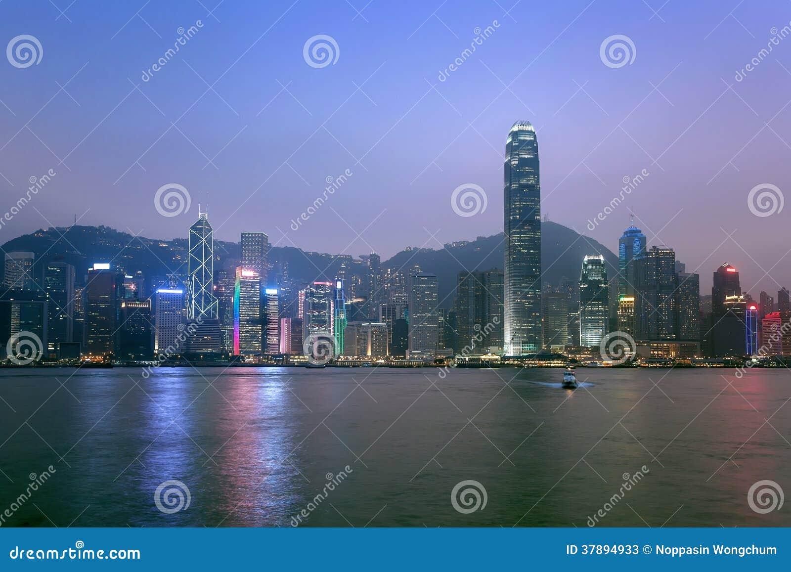 Hong Kong miasta linia horyzontu