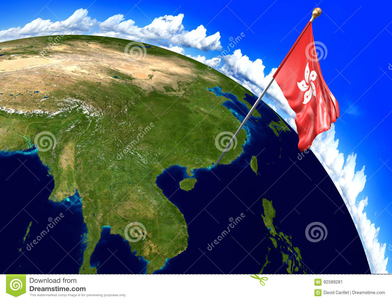 Hong Kong National Flag Marking The Country Location On World Map