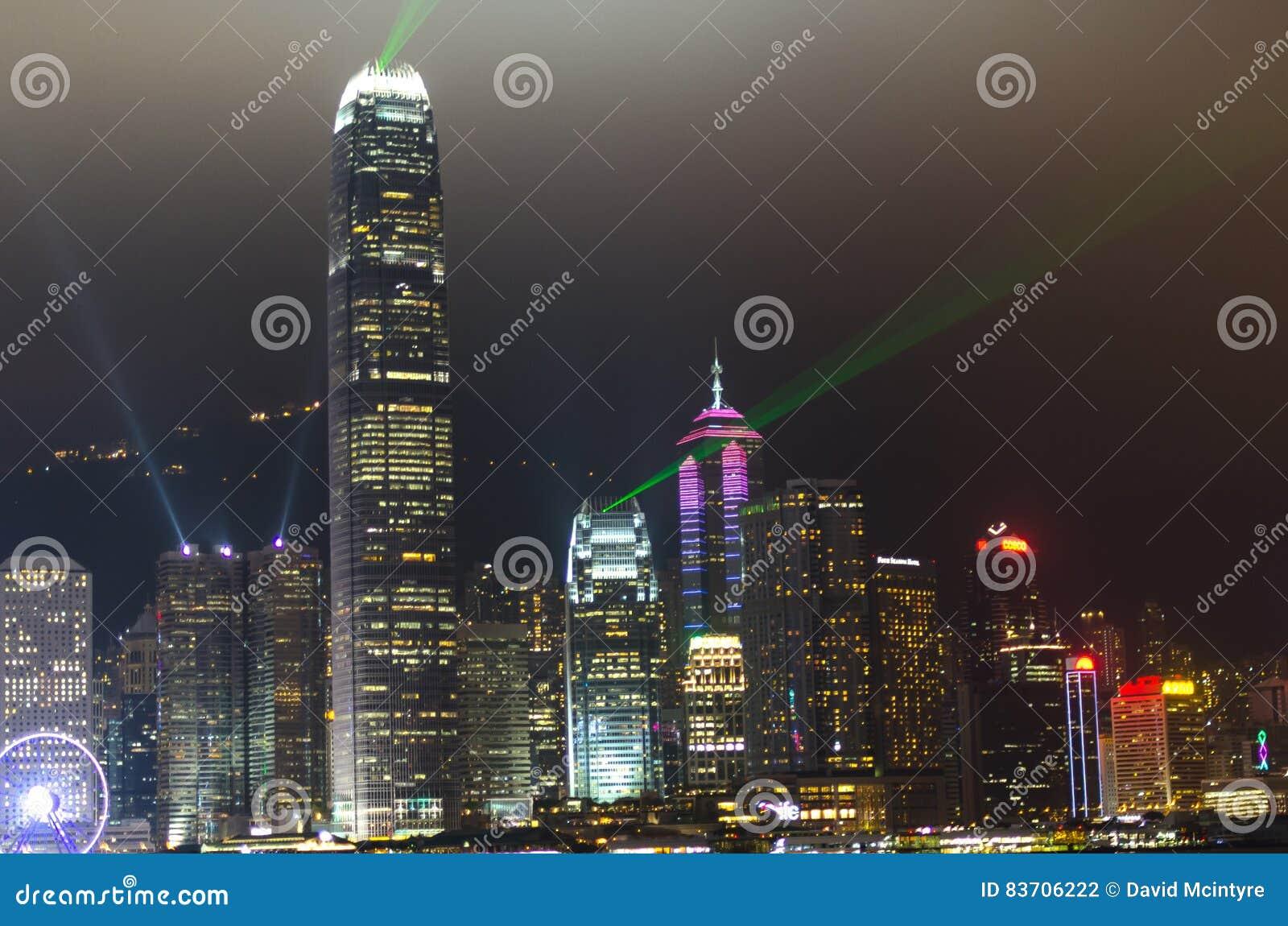 Hong Kong At Night Editorial Photography