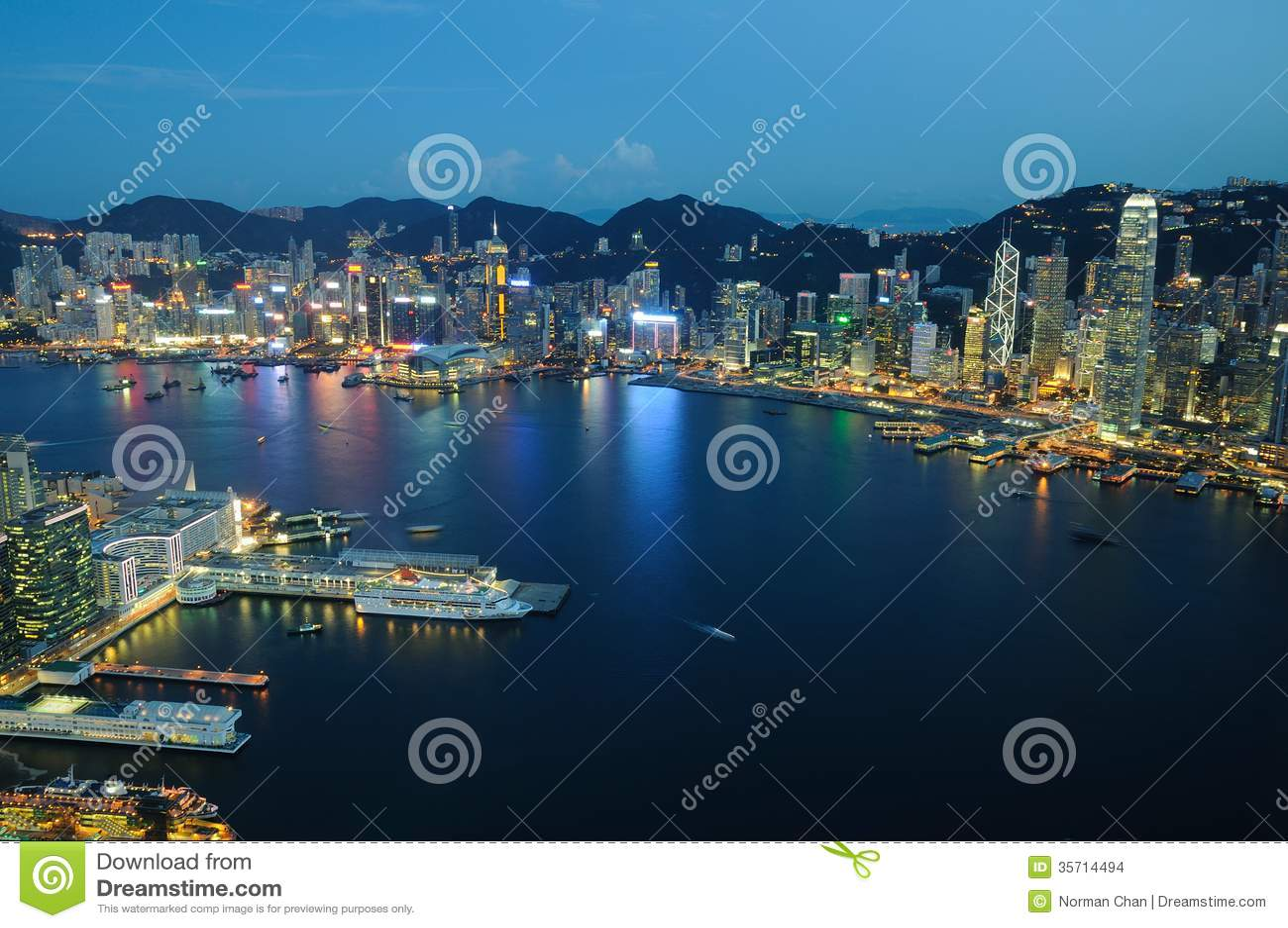 Hong Kong night scene aerial view