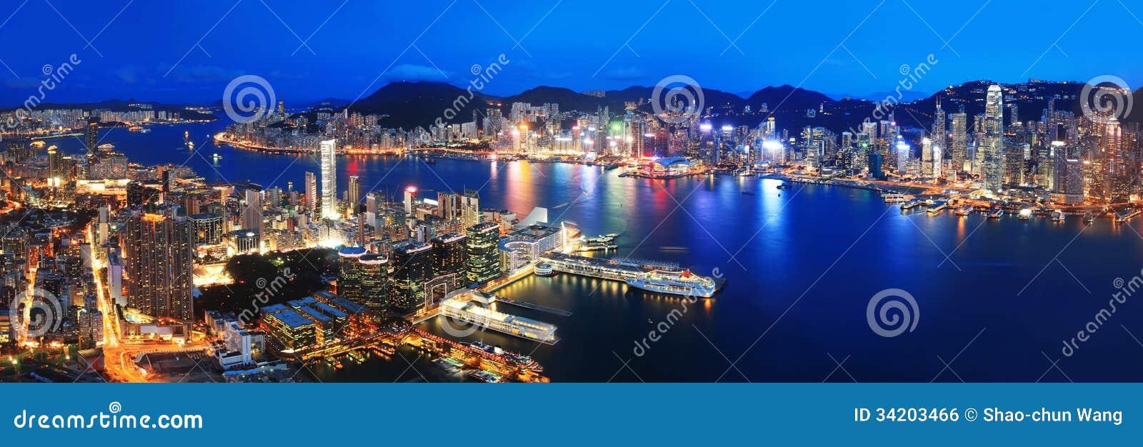 Hong Kong nocy widok