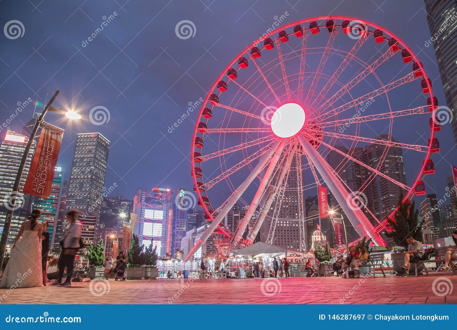 Hong Kong Observation Wheel en el parque de la vitalidad de AYA, isla de Hong Kong