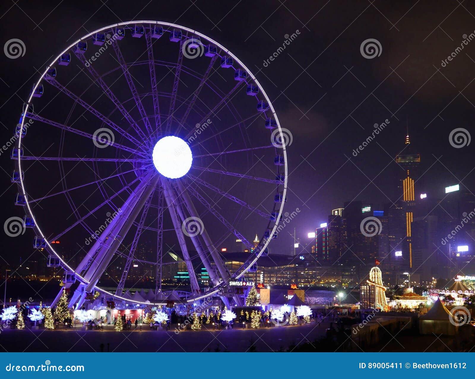 Hong Kong Observation Wheel- Und Weihnachtskarneval Redaktionelles ...