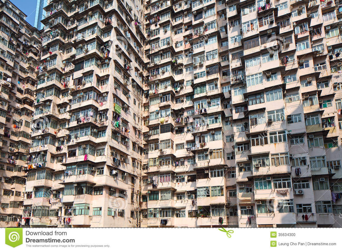 Hong Kong Old Residential Building Stock Photo Image