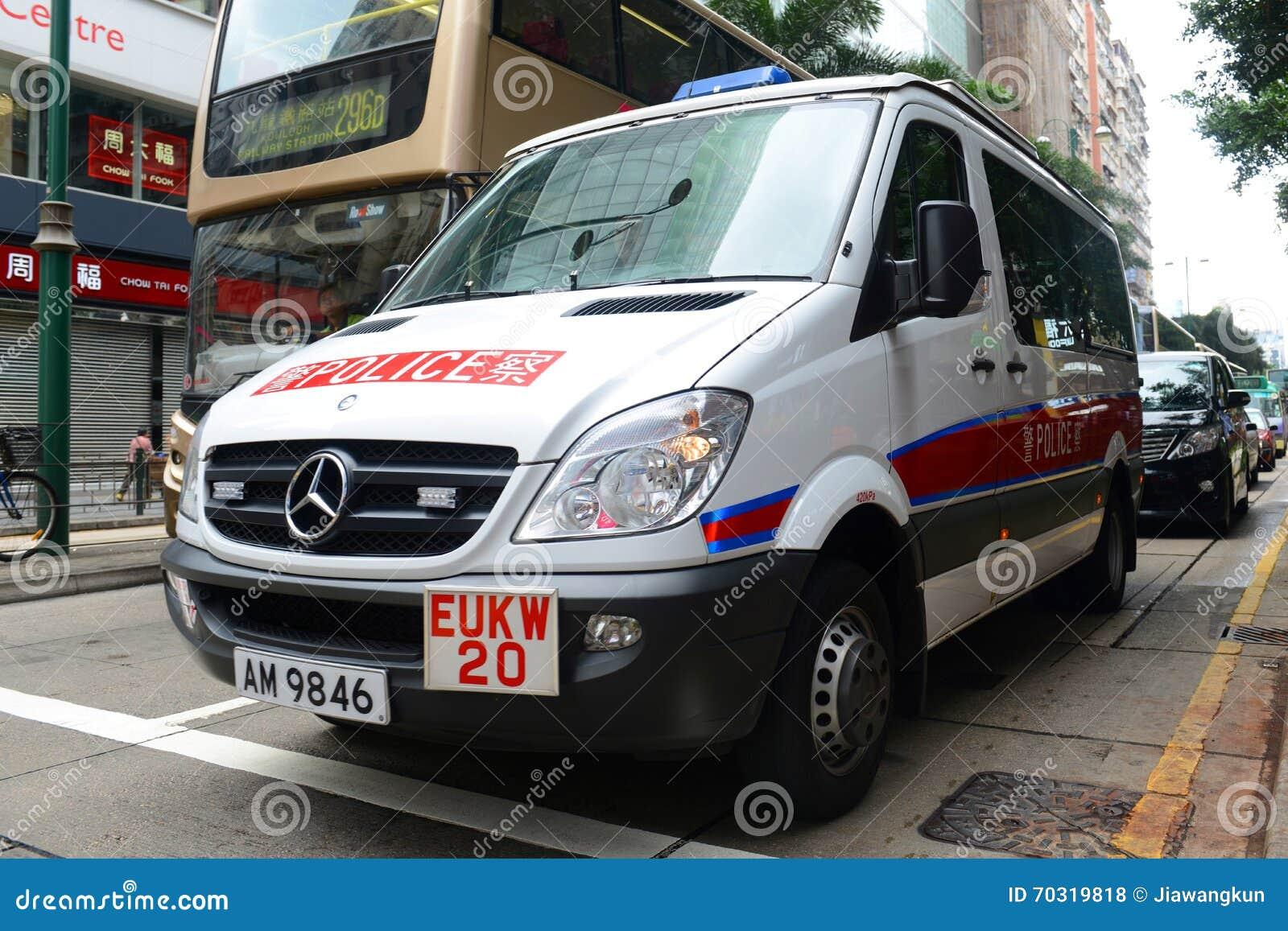 Hong Kong police vehicle on duty