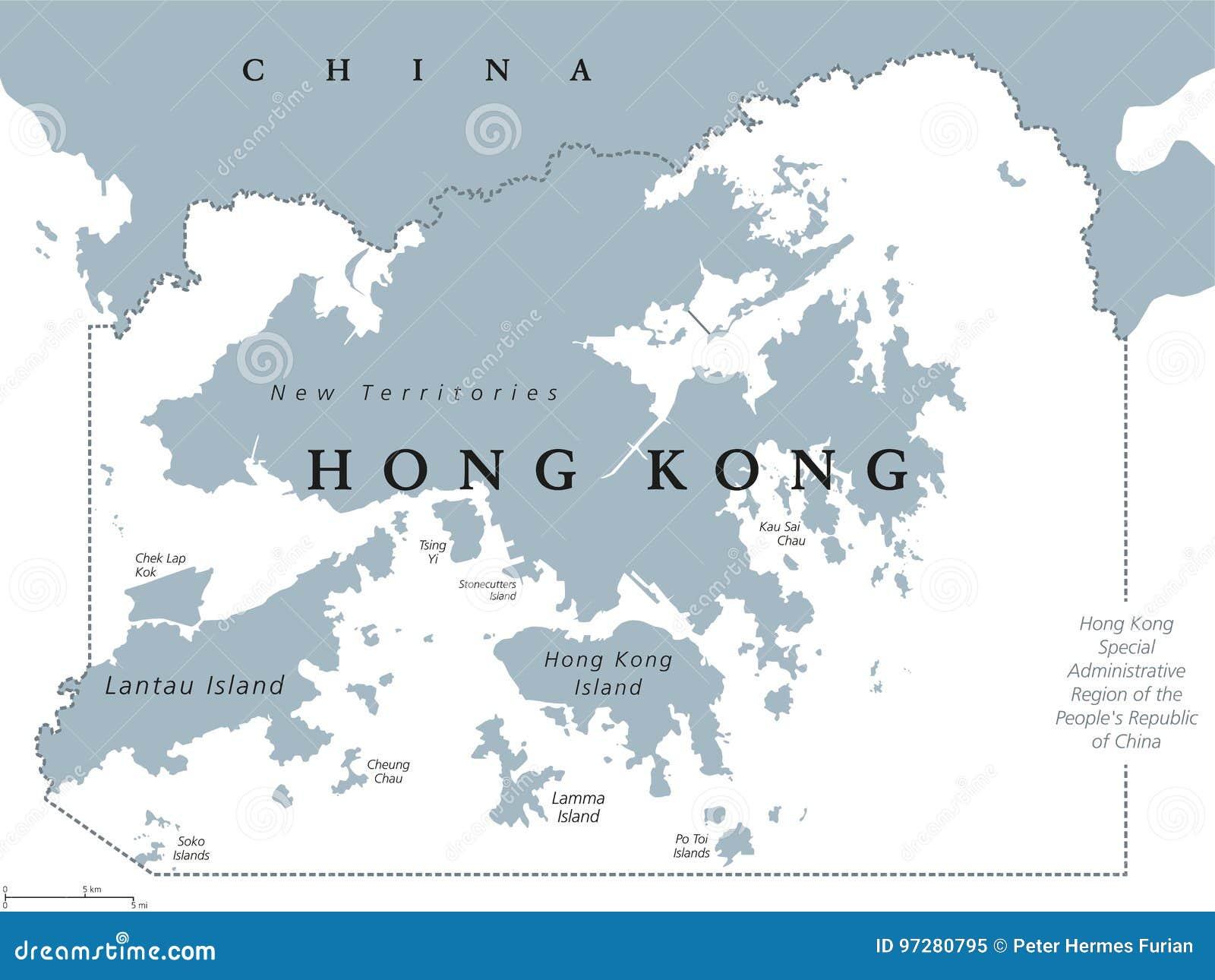 hong kong political map stock vector illustration of financial 97280795. Black Bedroom Furniture Sets. Home Design Ideas