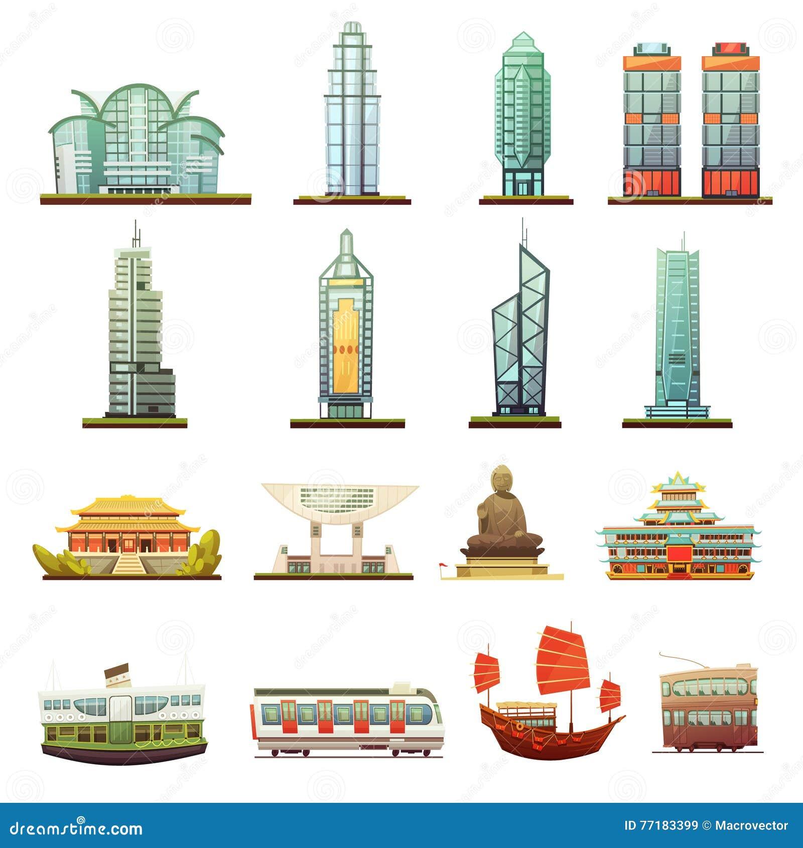 Hong Kong punktów zwrotnych transportu ikony Ustawiać
