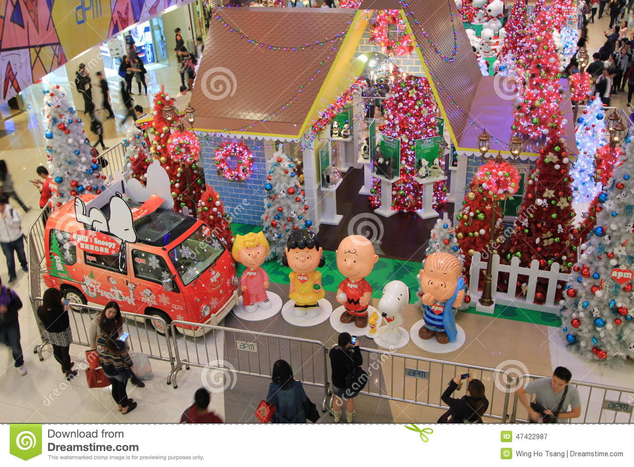 download hong kong snoopy christmas decoration in apm editorial photography image of center ceiling