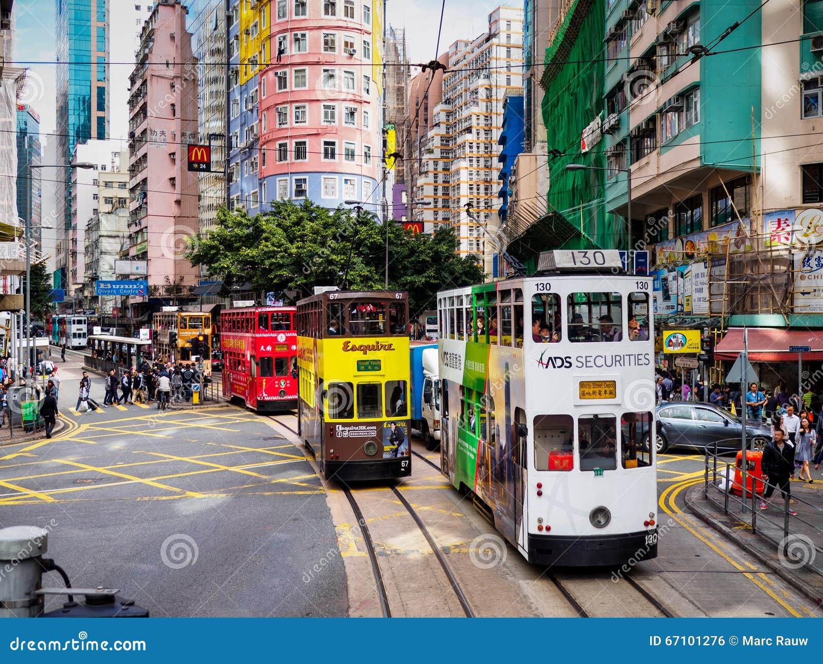 Hong Kong Tramways   Ding Ding   tranvías del autobús de dos pisos