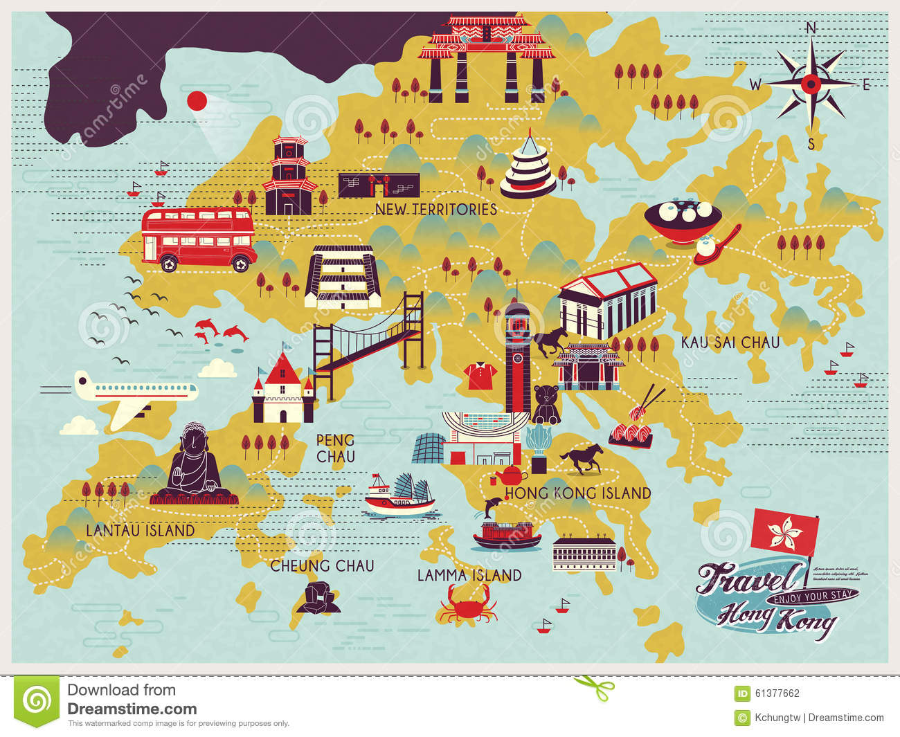 Hong Kong Travel Map Vector Image 61377641 – Hong Kong Tourist Attractions Map
