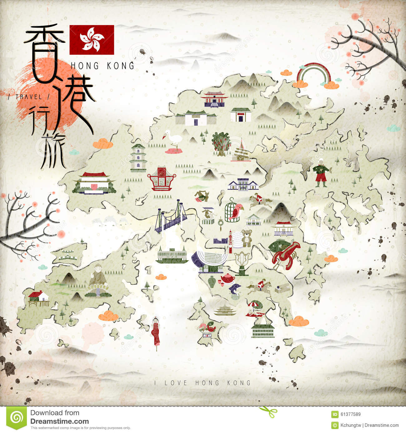 Hong Kong Travel Map Cartoon Vector CartoonDealercom 63059643