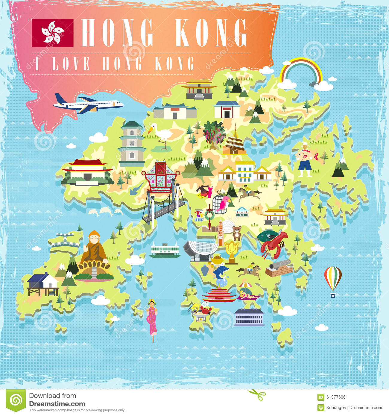 Hong Kong Travel Map Vector Illustration Cartoondealer Com 61377606