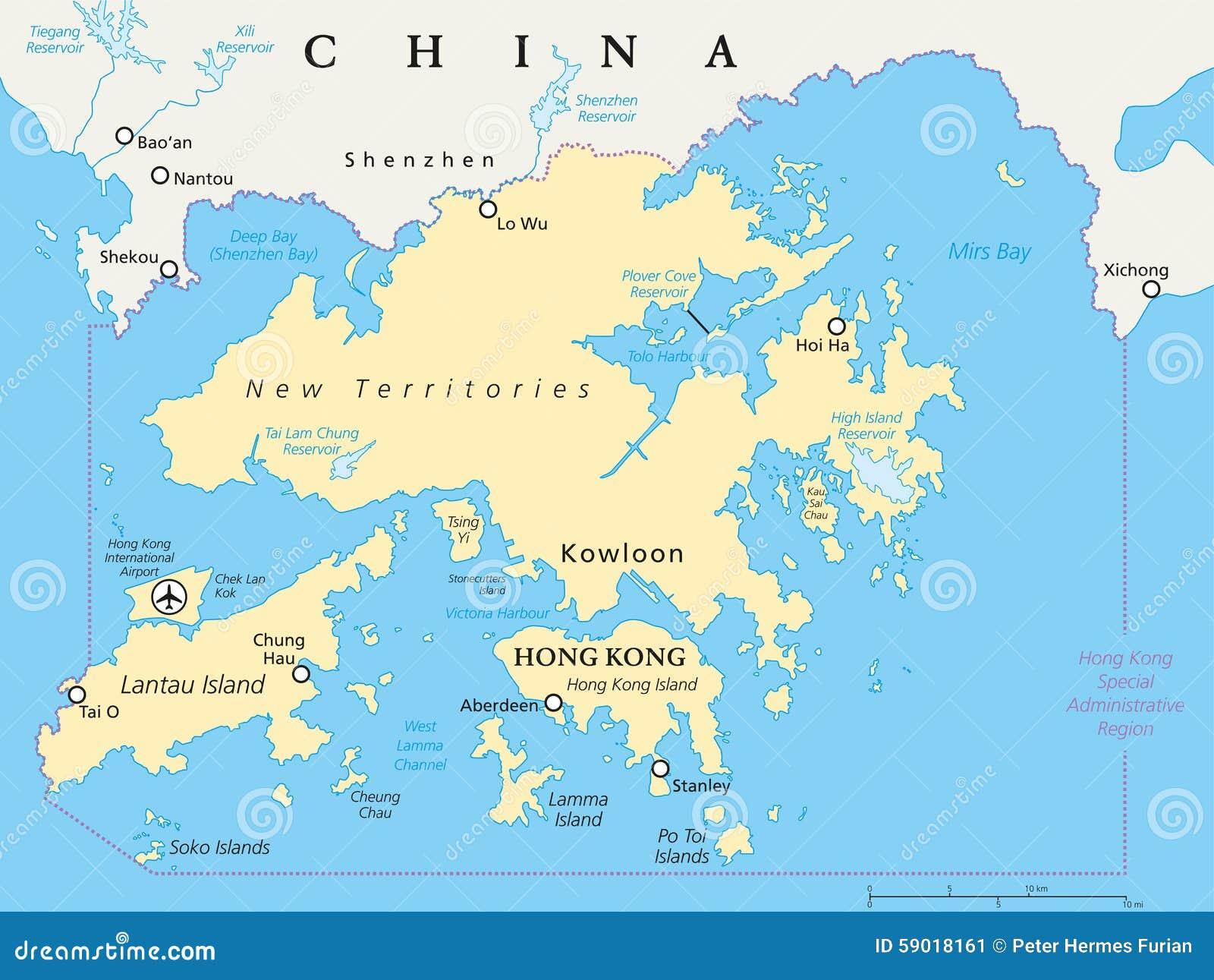 Hong Kong And Vicinity Political Map Stock Vector Image 59018161