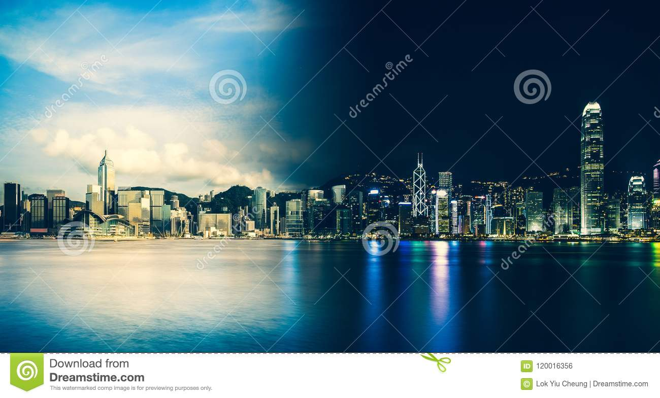 Download Hong Kong Victoria Harbor Day And Night Stock Photo - Image of architecture, beautiful: 120016356