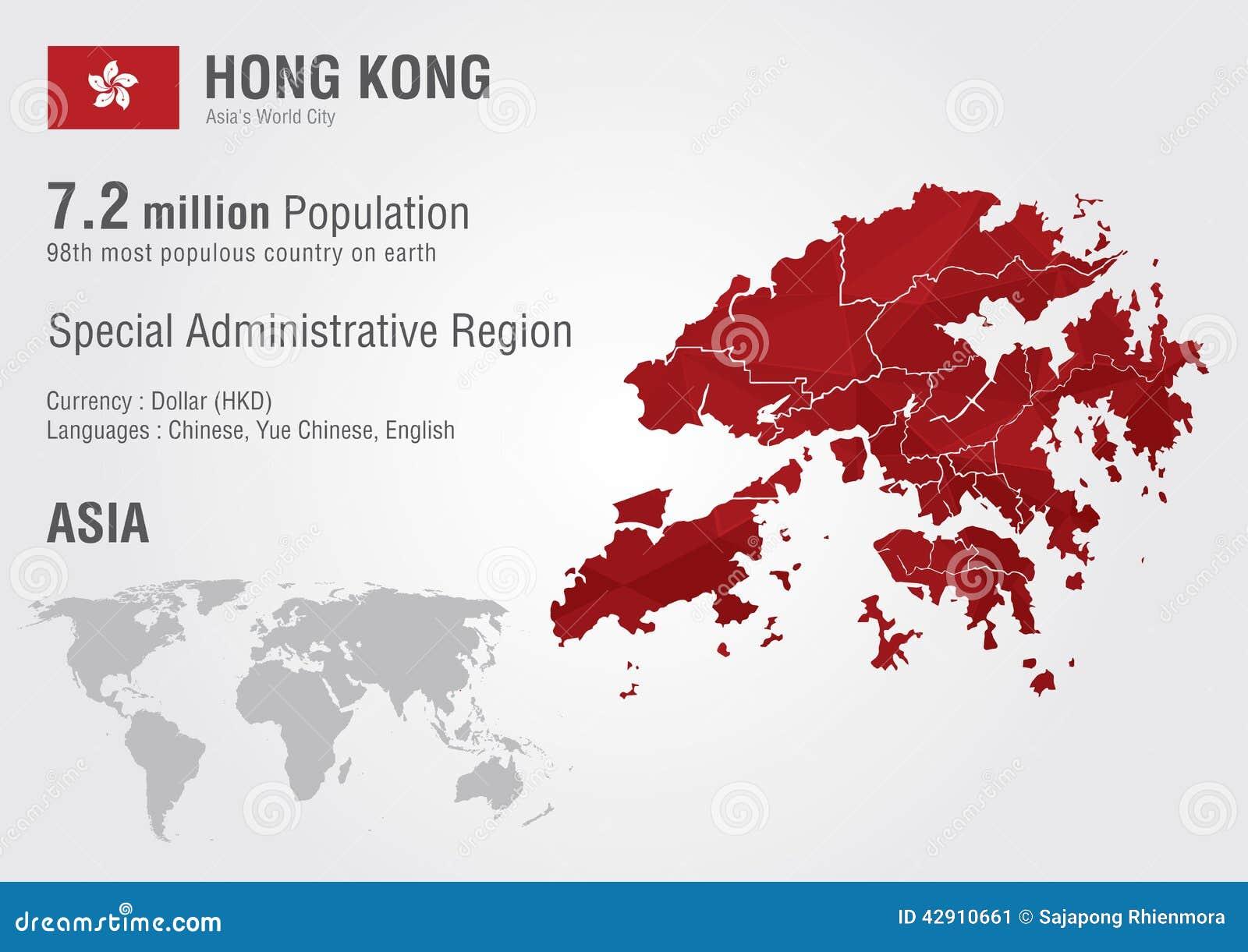 Hong Kong On A World Map.Hong Kong World Map With A Pixel Diamond Texture Stock Vector