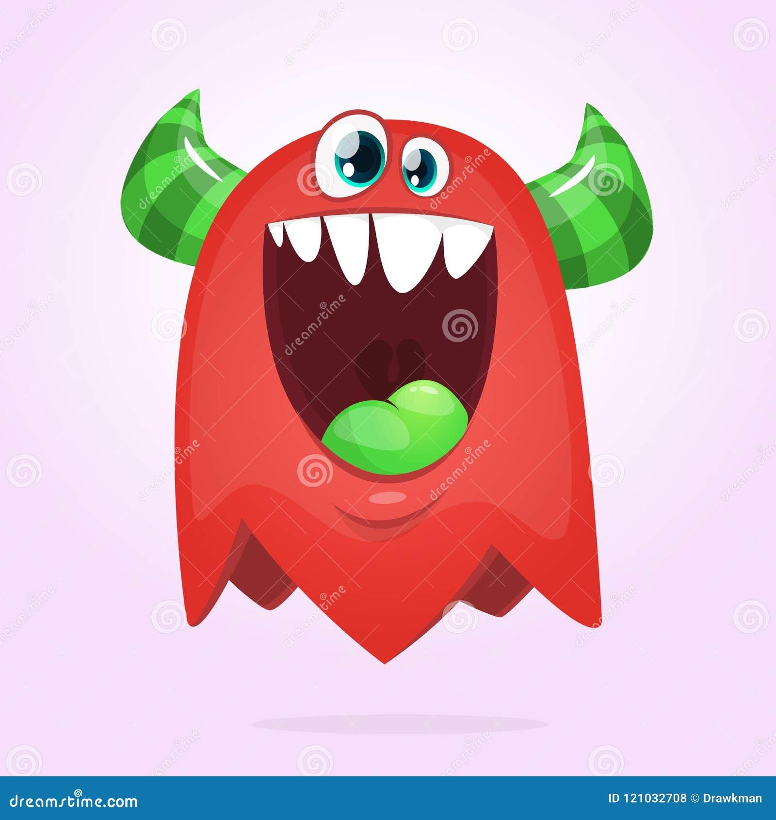 Hongerig Beeldverhaalmonster Het vector rode en gehoornde monster van Halloween