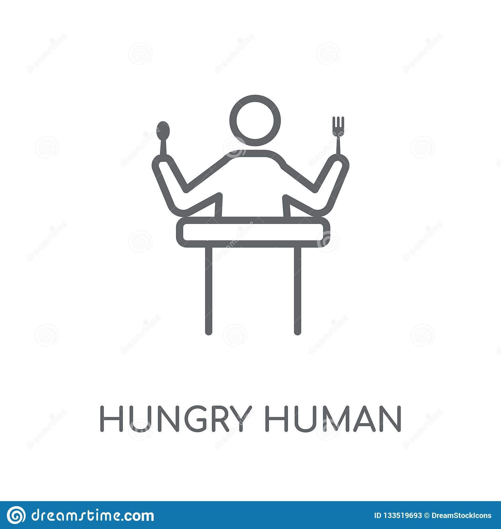 Hongerig menselijk lineair pictogram Moderne conce van het overzichts hongerige menselijke embleem