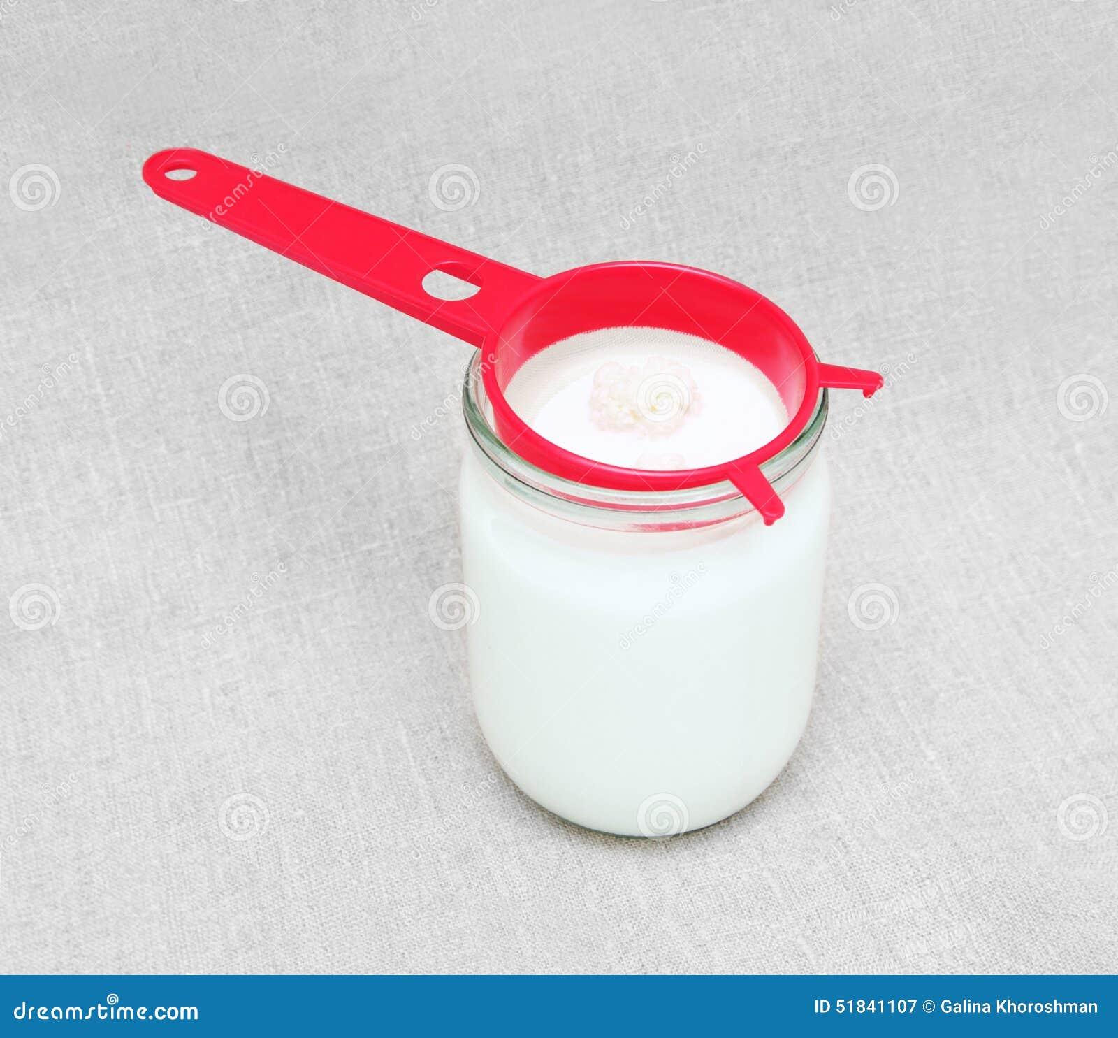 Hongo del kéfir en tamiz y en tarro con leche