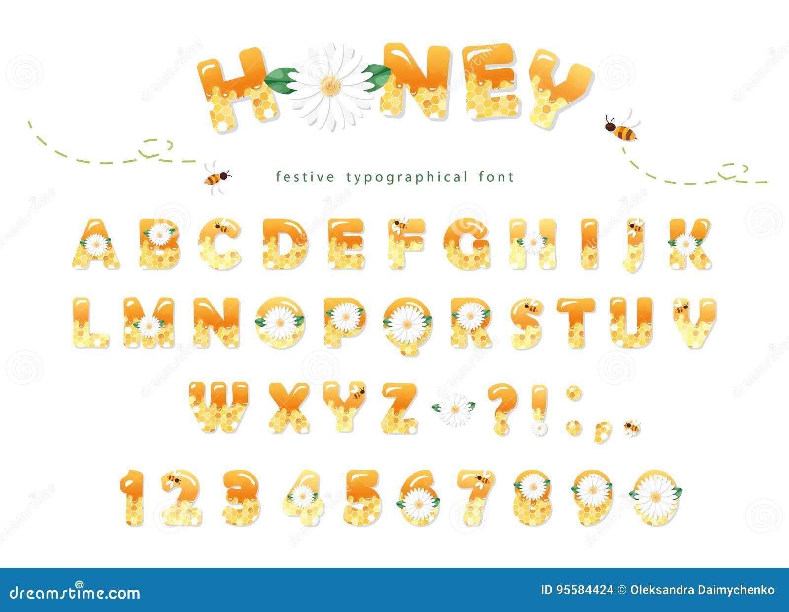 Honigschriftart Glatte süße ABC-Buchstaben und -zahlen lokalisiert auf Weiß